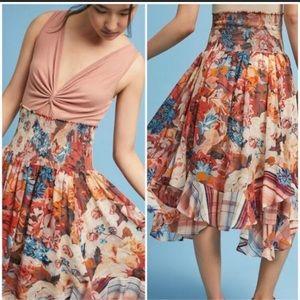ANTHROPOLOGIE Theola Maxi Asymmetrical Skirt sz M